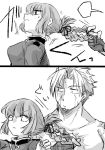 1boy 1girl beowulf_(fate/grand_order) braid fate/grand_order fate_(series) florence_nightingale_(fate/grand_order) hair_pull mijinko_(83nabe) monochrome scar