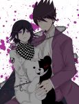 2boys bear blood blood_splatter collared_shirt danganronpa facial_hair formal goatee highres image_sample looking_at_viewer male_focus mitsuki_(ayanop1111) momota_kaito monokuma multiple_boys new_danganronpa_v3 ouma_kokichi purple purple_hair school_uniform shirt short_hair shota simple_background smile spiky_hair violet_eyes