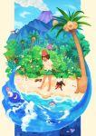 1girl alola_form alolan_exeggutor barefoot beach beanie bewear bounsweet brown_hair cutiefly dark_skin exeggutor female_protagonist_(pokemon_sm) hat highres litten mimikyu mudbray ocean palossand pikipek pokemon pokemon_(creature) pokemon_(game) pokemon_sm popplio red_hat rowlet shoes_removed short_hair shorts tree volcano water wimpod wishiwashi yungoos