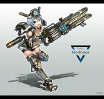 1girl :d artist_name bike_shorts blue_eyes blue_hair breasts copyright_name full_body gia grey_legwear gun hair_between_eyes headgear highres letterboxed looking_at_viewer mecha_musume medium_breasts northstar_(titanfall) open_mouth personification railgun short_hair signature smile solo standing standing_on_one_leg thigh-highs titanfall_2 trigger_discipline weapon