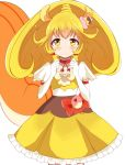 1girl animal_ears blonde_hair blush choker cosplay cure_custard cure_custard_(cosplay) cure_peace elbow_gloves embarrassed food_themed_hair_ornament gloves hair_ornament haru_(nature_life) kirakira_precure_a_la_mode kise_yayoi looking_at_viewer magical_girl ponytail precure short_hair simple_background smile_precure! solo squirrel_ears squirrel_tail tail white_background white_gloves yellow_eyes