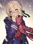 blonde_hair blush fate/grand_order glasses jacket saber_alter seifuku short_hair yellow_eyes