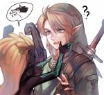 1boy 1girl ? blonde_hair earrings fangs fingerless_gloves gloves imp jewelry link link_(wolf) midna monster_girl mouth_pull open_mouth orange_hair pointy_ears scabbard sharp_teeth sheath solo_focus strap sword syn_(kuponutt) teeth the_legend_of_zelda the_legend_of_zelda:_twilight_princess upper_body weapon