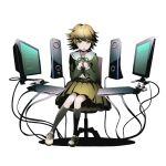 1boy alpha_transparency black_legwear brown_hair brown_skirt chair computer computer_keyboard computer_mouse crossdressing danganronpa danganronpa_1 divine_gate fujisaki_chihiro full_body green_ribbon hands_together kneehighs knees_together_feet_apart looking_at_viewer male_focus monitor office_chair official_art open_mouth ribbon school_uniform short_hair sitting skirt solo tearing_up transparent_background trap ucmm wire yellow_eyes