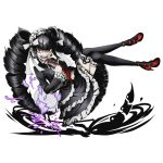 1girl alpha_transparency angry black_hair black_legwear broken_cup celestia_ludenberck claw_ring constricted_pupils danganronpa danganronpa_1 divine_gate dress drill_hair floating frilled_dress frills full_body gothic_lolita headdress high_heels lace lace-trimmed_thighhighs layered_dress lolita_fashion long_hair looking_at_viewer necktie official_art open_mouth pointing pointing_up red_eyes red_necktie shadow solo thigh-highs transparent_background ucmm very_long_hair