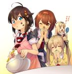 4girls =_= ahoge akama_zenta alternate_costume apron black_hair black_ribbon blonde_hair blue_eyes blush bow bowl braid brown_eyes brown_hair cardigan closed_eyes commentary covering_mouth ears_visible_through_hair food food_on_face green_eyes hair_between_eyes hair_bobbles hair_bow hair_flaps hair_ornament hair_ribbon hairband hand_mirror kantai_collection kiss_mark long_hair long_sleeves mirror multiple_girls murasame_(kantai_collection) neckerchief one_eye_closed red_bow red_neckerchief remodel_(kantai_collection) ribbon school_uniform serafuku shigure_(kantai_collection) shiratsuyu_(kantai_collection) short_hair short_sleeves single_braid smile translated twintails twitter_username valentine yuudachi_(kantai_collection)