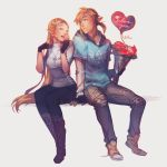 1boy 1girl adapted_costume alternate_costume balloon blonde_hair bouquet casual closed_eyes finni_chang flower highres hood hoodie jewelry link necklace pointy_ears princess_zelda sitting smile the_legend_of_zelda the_legend_of_zelda:_breath_of_the_wild valentine