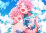 2boys ameto_yukino blue_sky blush brothers day fang highres looking_at_viewer male_focus multiple_boys one_eye_closed open_mouth original outdoors pink_eyes pink_hair sailor siblings sky