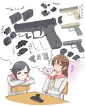 2girls firearm flashlight glock glock_17 gun handgun head_on_arm highres multiple_girls original school_uniform seiryouinryousui table thinking thought_bubble translation_request weapon