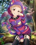 1girl alice_in_wonderland animal_ears animal_hood artist_request belt blonde_hair card_(medium) cat_ears cat_hood cat_tail cheshire_cat cheshire_cat_(cosplay) cosplay earrings forest garter_straps grin heart heart_earrings hood idolmaster idolmaster_cinderella_girls jewelry looking_at_viewer mushroom nature official_art paw_pose pins red_eyes senzaki_ema short_hair shorts sitting smile solo star striped tail thigh-highs tomboy tree zipper