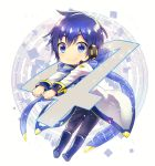 anniversary bangs blue_hair blue_nails blue_scarf chibi circle closed_mouth coat eyebrows_visible_through_hair fingernails full_body hair_between_eyes headphones headset kaito kaito_(vocaloid3) kikuchi_mataha long_sleeves looking_at_viewer nail_polish number outstretched_arms pants scarf see-through shiny shiny_hair smile solo square unzipped vocaloid white_background white_coat