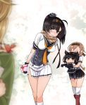 4girls :> ^_^ ahoge akizuki_(kantai_collection) animal animal_on_shoulder arms_behind_back bangs between_breasts black_gloves black_hair black_skirt blue_eyes blurry blush boots box braid breasts brown_hair carrying chibi closed_eyes closed_mouth clothes_writing corset crab depth_of_field eyebrows_visible_through_hair gift gift_box gloves hair_ornament hairband hatsuzuki_(kantai_collection) headgear heart holding holding_gift jitome kantai_collection kneehighs leaning_forward legs_together light_brown_hair long_hair long_sleeves medium_breasts miniskirt multiple_girls neckerchief no_mouth oboro_(kantai_collection) open_hands out_of_frame outstretched_arms pantyhose plaid plaid_scarf pleated_skirt pointy_hair ponytail propeller_hair_ornament red_boots red_ribbon ribbon scarf school_uniform serafuku short_sleeves skirt smile standing sumeragi_hamao sweatdrop swept_bangs teruzuki_(kantai_collection) thigh-highs twin_braids valentine white_legwear white_skirt