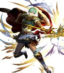 1boy aqua_hair armor artist_request attack belt black_cape blue_armor blue_boots blue_eyes blue_fire boots brown_pants cape energy ephraim fire fire_emblem fire_emblem:_seima_no_kouseki fire_emblem_heroes full_body gauntlets greaves highres holding holding_weapon lance male_focus multiple_belts nintendo open_mouth pants polearm serious shoulder_armor solo teeth weapon white_background