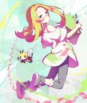 1girl bare_shoulders blonde_hair closed_mouth denim facepaint full_body half-closed_eyes jeans kurochiroko long_hair looking_at_viewer looking_back low_ponytail matsurika_(pokemon) off_shoulder oversized_clothes oversized_shirt paint paintbrush pants pokemon pokemon_(game) pokemon_sm ribombee shirt short_sleeves sketchbook trial_captain