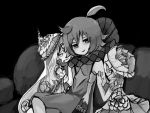 3girls black_background coatifan couch dress drooling girl_sandwich greyscale hand_on_another's_face harem highres looking_at_viewer magical_girl mahou_shoujo_ikusei_keikaku mahou_shoujo_ikusei_keikaku_limited monochrome multiple_girls pukin saliva sandwiched simple_background sitting smile sonia_bean wedin yuri