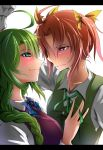 2girls :3 ahoge bangs blouse blue_eyes blue_neckwear blush bow bowtie breasts brown_hair closed_mouth couple dress eye_contact face-to-face female gloves green_hair green_neckwear green_ribbon green_vest hair_between_eyes hair_ribbon hand_up highres kagerou_(kantai_collection) kantai_collection long_hair long_sleeves looking_at_another medium_breasts mole mole_under_mouth multiple_girls neck neck_ribbon parted_bangs pink_eyes purple_dress remodel_(kantai_collection) ribbon school_uniform serious shiny shiny_hair shirt short_hair smile sweat tatetsuki twintails upper_body vest wall_slam wavy_mouth white_blouse white_shirt yellow_ribbon yuri yuugumo_(kantai_collection)