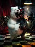 animal_ears bacius bear bear_ears bear_paws black_eyes ceiling_light checkered checkered_floor commentary_request cyborg danganronpa danganronpa_1 fur glowing hands_on_own_stomach metal monokuma navel no_humans open_mouth prosthesis prosthetic_arm realistic red_eyes shadow sharp_teeth smile solo standing stuffed_animal stuffed_toy teddy_bear teeth television tile_floor tiles white_fur