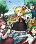 >;d 6+girls ;d alice_margatroid american_flag_dress animal_ears antennae apple arm_up ascot bird_wings black_hair blonde_hair blouse blue_dress blue_eyes blue_hair blush bow broom broom_riding cape cirno closed_eyes clownpiece commentary_request cup day disembodied_head dress dress_shirt drinking_glass dutch_angle eyebrows_visible_through_hair fairy_wings fence flask floating food fruit gohei grass green_hair hair_bow hair_ribbon hakurei_reimu hands_up happy hat highres holding holding_cup holding_food hot_dog ice ice_wings jester_cap kirisame_marisa long_sleeves looking_at_another lying multiple_girls multiple_heads mystia_lorelei neck_ruff on_back one_eye_closed onigiri onozuka_komachi open_mouth orange_juice outdoors picnic picnic_basket pink_hair red_eyes redhead ribbon rumia sandwich sekibanki shirt shoes_removed short_hair short_sleeves sitting skirt sleeping smile socks spark621 team_9 touhou tree wings witch_hat wooden_fence wriggle_nightbug