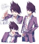 1boy beard bleeding blood blood_from_mouth danganronpa facial_hair goatee jacket jacket_on_shoulders long_hair momota_kaito multiple_boys new_danganronpa_v3 open_mouth pants purple_hair school_uniform shirt short_hair simple_background smile space_print spiky_hair spoilers starry_sky_print violet_eyes
