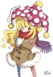 1girl american_flag_legwear bangs blonde_hair character_name clownpiece coat covered_mouth crossed_arms fur_trim hat jagabutter jester_cap mittens pantyhose pink_eyes polka_dot red_scarf scarf signature simple_background solo standing star star_print striped touhou wavy_hair white_background winter_clothes winter_coat