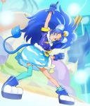 1girl animal_ears arm_up blue_boots blue_eyes blue_gloves blue_hair blue_legwear blue_skirt boots cat_ears cat_tail clenched_hand clenched_teeth cure_gelato food_themed_hair_ornament gloves hair_ornament haruyama_kazunori index_finger_raised kirakira_precure_a_la_mode lion_ears lion_tail long_hair magical_girl precure single_thighhigh skirt smile solo tail tategami_aoi teeth thigh-highs
