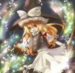 blonde_hair braid broom hat kame kirisame_marisa long_hair ribbon ribbons star stars touhou witch_hat yellow_eyes