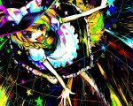 blue_eyes braid broom broom_riding colorful hanada_hyou hat kirisame_marisa star stars touhou witch_hat