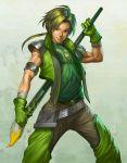 armband armor art_brush belt giant_brush gloves green_eyes green_hair male muscle paintbrush signature smile solo stanley_lau