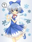bad_id blue_dress blue_eyes blue_hair blush bow cirno dress fang fingers hair_bow halftone halftone_background hanabana_tsubomi mary_janes neck_ribbon notenotenote open_mouth ribbon ribbons shoes short_hair smile standing_on_one_leg touhou wings