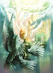 angel angel_wings blue_eyes chains long_hair macca orange_hair wings