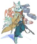 aporoid furry gloves gun lowres male nemurism nintendo red_eyes rifle robot star_fox starfox tail trench_coat trenchcoat weapon wolf_o'donnell wolf_o'donnell
