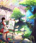 .l.l 1girl absurdres apron barefoot blue_eyes bookshelf brown_hair canvas_(object) chandelier colorful dress easel flower grass hair_ornament highres indoors ladder long_hair looking_at_viewer looking_to_the_side low_ponytail original paint paint_can paintbrush painting painting_(object) palette rock scenery shadow sketch smile solo sunlight tree x_hair_ornament