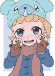 1girl :d alternate_costume bear black_background blonde_hair blue_coat blue_eyes blue_hat brown_scarf coat cub cubchoo eureka_(pokemon) eyebrows_visible_through_hair flat_chest hair_ornament hands_on_own_cheeks hands_on_own_face hat lion litleo long_sleeves looking_at_viewer low_ponytail mittens nose_drip open_mouth pokemon pokemon_(game) pokemon_xy scarf short_hair short_ponytail side_ponytail smile solo standing suzuki_zentarou tareme teeth tongue upper_body winter_clothes