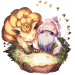 closed_eyes flower grass inkay locked_arms looking_at_viewer no_humans pokemon pokemon_(creature) suana vulpix