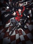 1girl black_hair black_legwear black_ribbon card casino_tokens highres hime_cut jabami_yumeko kakegurui loafers long_hair looking_at_viewer lying nail_polish neck_ribbon official_art on_back pleated_skirt red_eyes red_nails red_suit ribbon shoes skirt solo thigh-highs very_long_hair