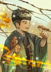 1boy bad_perspective bird bird_on_hand black_hair closed_eyes eyebrows forehead_protector genji_(overwatch) happy japanese_clothes kimono male_focus nose open_mouth overwatch sae_(revirth) short_hair smile solo younger yukata