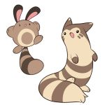 :3 black_eyes full_body furret mary_cagle no_humans open_mouth outstretched_arms pokemon pokemon_(creature) sentret simple_background tail white_background