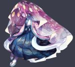 1boy black_nails floral_print full_body inkay japanese_clothes nail_polish outstretched_hand personification pokemon sandals side_glance solo standing suana veil