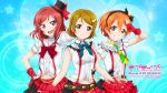 3girls belt brown_hair copyright_name earrings fingerless_gloves gloves grin hair_ornament hairband hat heart_cutout highres hoshizora_rin jewelry koizumi_hanayo long_hair looking_at_viewer love_live! love_live!_school_idol_project midriff mini_hat multiple_girls navel nishikino_maki official_art open_mouth orange_hair red_gloves redhead scan shirt short_hair skirt smile violet_eyes white_shirt yellow_eyes