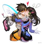 2girls absurdres ass black_hair blush bodysuit breasts cropped_jacket cropped_legs d.va_(overwatch) disarming facepaint facial_mark goggles gun handgun headphones heart highres kiss long_hair multiple_girls orange_bodysuit overwatch pistol short_hair simple_background small_breasts sohn_woohyoung surprise_kiss surprised tracer_(overwatch) weapon whisker_markings white_background wrist_grab yuri