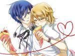 1boy 1girl arisato_minato eating headphones heart hug hug_from_behind jacket parfait persona persona_3 shirt simple_background takeba_yukari white_background yuuki_makoto
