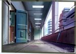absurdres anchoku_0621 apartment building day door fire_extinguisher highres neon_genesis_evangelion no_humans plant scenery umbrella