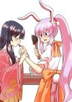 2girls alternate_hairstyle animal_ears apron bangs black_hair blush bunny_tail chocolate closed_eyes commentary crescent finger_licking hand_on_another's_arm highres hime_cut houraisan_kaguya lavender_hair licking long_hair long_sleeves looking_at_another mana_(gooney) multiple_girls pleated_skirt ponytail purple_hair rabbit_ears red_eyes reisen_udongein_inaba shirt short_sleeves simple_background skirt smile spatula sweatdrop tail tied_hair touhou valentine very_long_hair white_background white_shirt wide_sleeves wrist_grab yuri