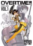 2girls 4boys arm_up ass blue_skin bodysuit bomber_jacket brown_hair cover cover_page doujin_cover dual_wielding ear_piercing fishine goggles gun jacket long_hair multiple_boys multiple_girls one_eye_closed open_mouth overwatch piercing ponytail reaper_(overwatch) rifle short_hair smile sniper_rifle soldier:_76_(overwatch) submachine_gun torbjorn_(overwatch) tracer_(overwatch) weapon widowmaker_(overwatch) winston_(overwatch)