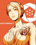 1girl ace_combat ace_combat_7 asymmetrical_hair brooch formal hair_bun jewelry orange_(color) portrait suit suyama