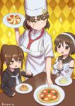 3girls alternate_costume black_serafuku breasts brown_eyes brown_hair commentary_request detached_sleeves food fumizuki_(kantai_collection) glasses hairband hat headdress holding kantai_collection large_breasts long_hair long_sleeves misumi_(niku-kyu) multiple_girls natori_(kantai_collection) necktie open_mouth pince-nez ponytail risotto roma_(kantai_collection) school_uniform serafuku short_hair smile triangle_mouth