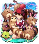 breasts brown_hair cleavage closed_eyes female_protagonist_(pokemon_go) furret hat natu pokemoa pokemon pokemon_(creature) pokemon_(game) pokemon_go pokestop sentret