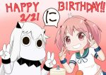 (o)_(o) 2girls animal animal_on_head arms_up body commentary_request double_v grin hair_bobbles hair_ornament happy_birthday horns kantai_collection long_hair looking_at_viewer midriff moomin moomintroll multiple_girls muppo northern_ocean_hime on_head pink_background pink_eyes pink_hair rabbit sazanami_(kantai_collection) sazanami_konami school_uniform serafuku shinkaisei-kan short_sleeves sidelocks skirt smile translation_request twintails upper v white_hair wristband