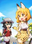 2girls :d animal_ears aqua_eyes backpack bag bare_shoulders black_gloves black_hair blue_sky blush blush_stickers bow bowtie breasts bus cat_ears cat_tail clenched_hand clouds cloudy_sky cowboy_shot cross-laced_clothes day elbow_gloves eye_contact eyebrows_visible_through_hair eyelashes fang feathers gloves ground_vehicle hair_between_eyes hat head_out_of_frame highres kaban kemono_friends large_breasts looking_at_another looking_to_the_side lucky_beast_(kemono_friends) motor_vehicle mountain multiple_girls open_mouth orange_eyes orange_hair outdoors pantyhose red_shirt rimukoro safari_hat sandstar serval_(kemono_friends) serval_ears serval_tail shirt short_hair short_sleeves shorts skirt sky sleeveless sleeveless_shirt smile socks striped_tail tail tareme thigh-highs tsurime twitter_username vehicle walking white_shirt zettai_ryouiki