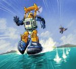 2006 a-loft-on-cybertron arm_cannon autobot battle chasing clouds dated decepticon energy_cannon firing flying mecha propeller robot running scan science_fiction seaspray signature skywarp sliding thundercracker traditional_media transformers turning_head walking walking_on_liquid water weapon
